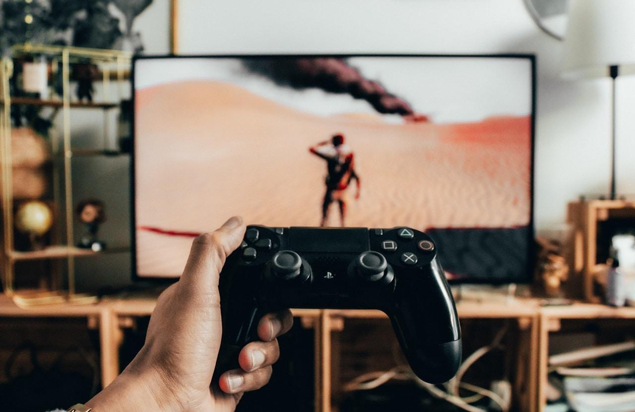 playing game on tv image